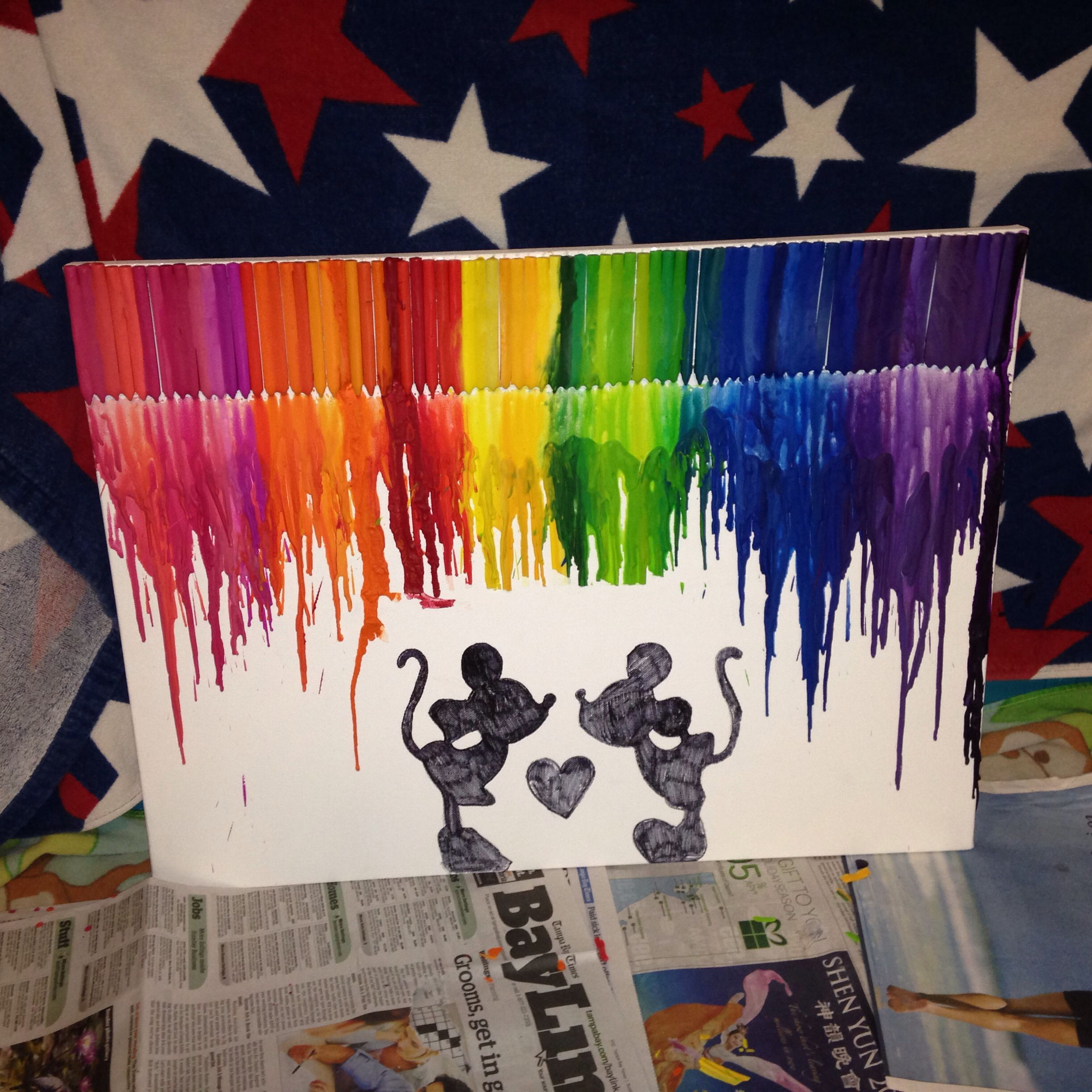 color crayon art : I Got Bored So I Decided To Make A Disney Inspired Crayon Melt