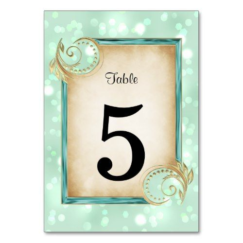 elegant faux metallic table number card  table number