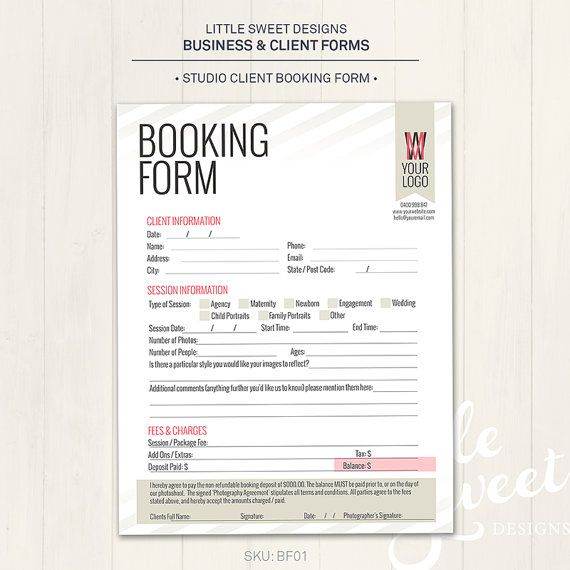 Photography Studio  Client Booking Form By Littlesweetdesigns