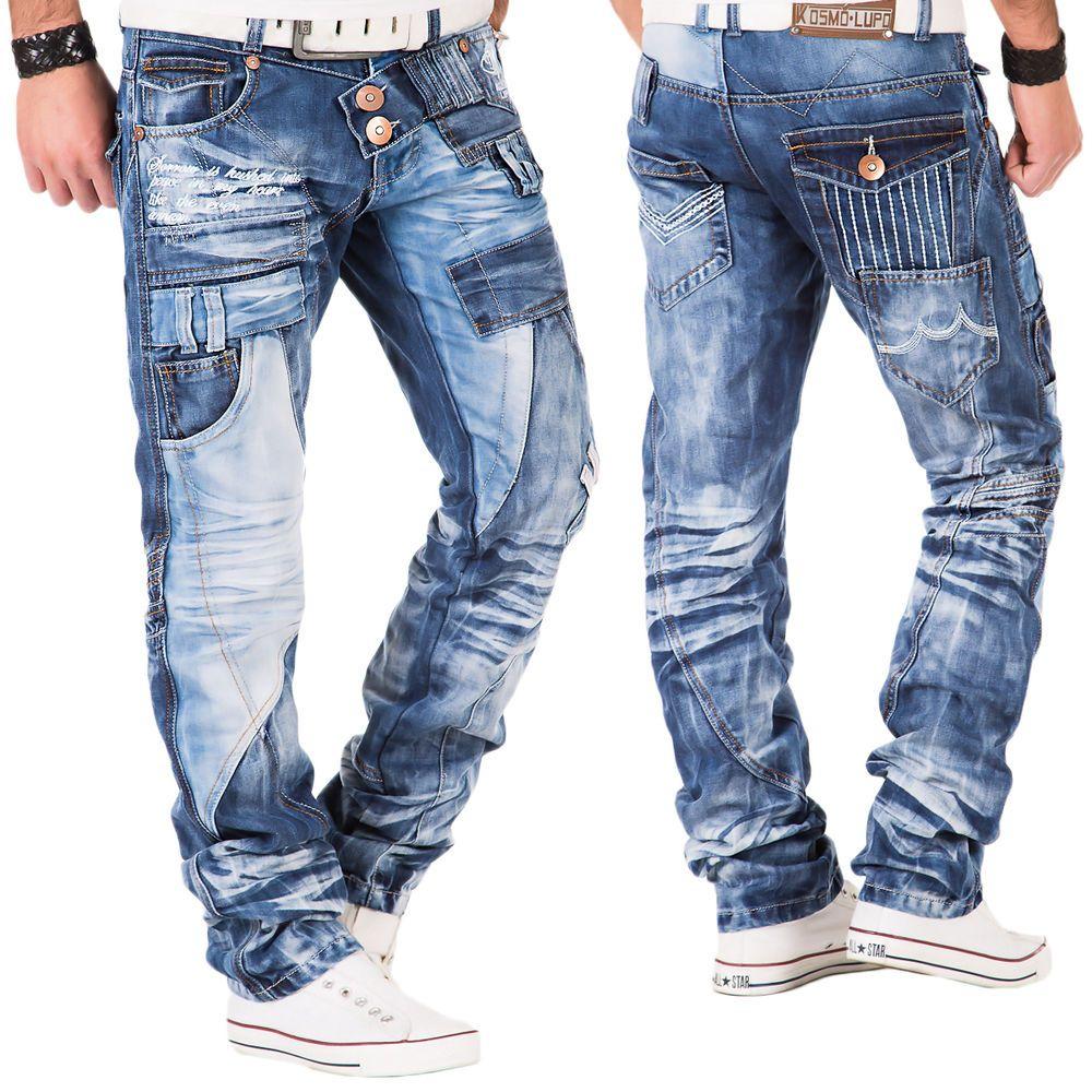 Kosmo Lupo Herren Jeans Hose Japan Style Clubwear Vintage Blau Chino Used  Denim 0676746aae
