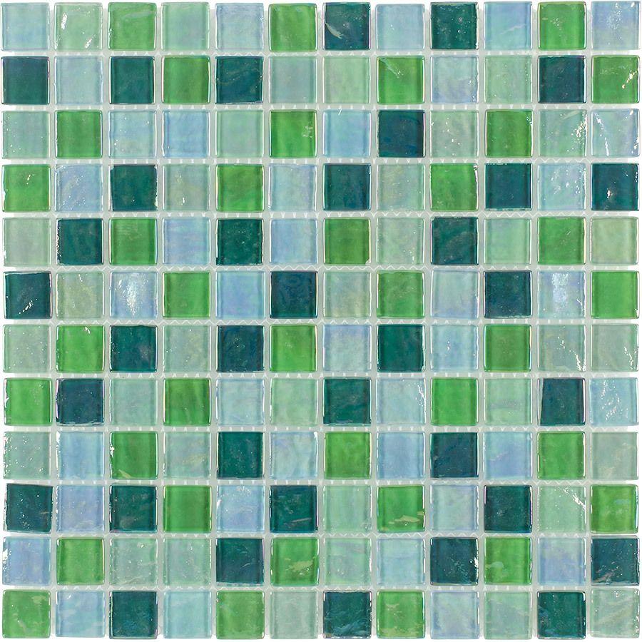 Shop Elida Ceramica Mint Oil Glass Mosaic Square Indoor/Outdoor Wall ...