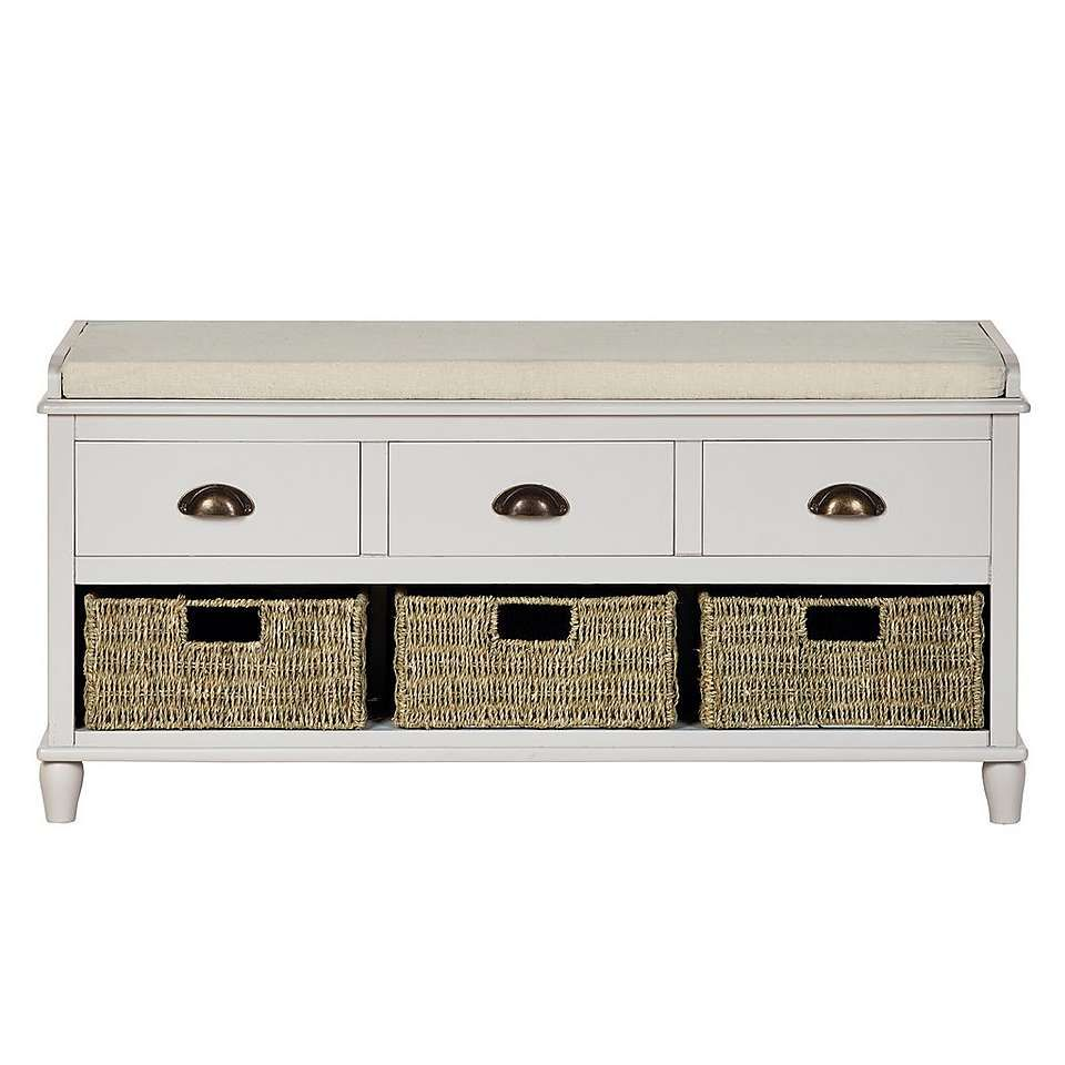 Crafted From Solid Wood With A Grey Painted Finish And A Padded Seat, This  Easy To Assemble Storage Bench Features Three Woven Seagrass Baskets And  Three ...