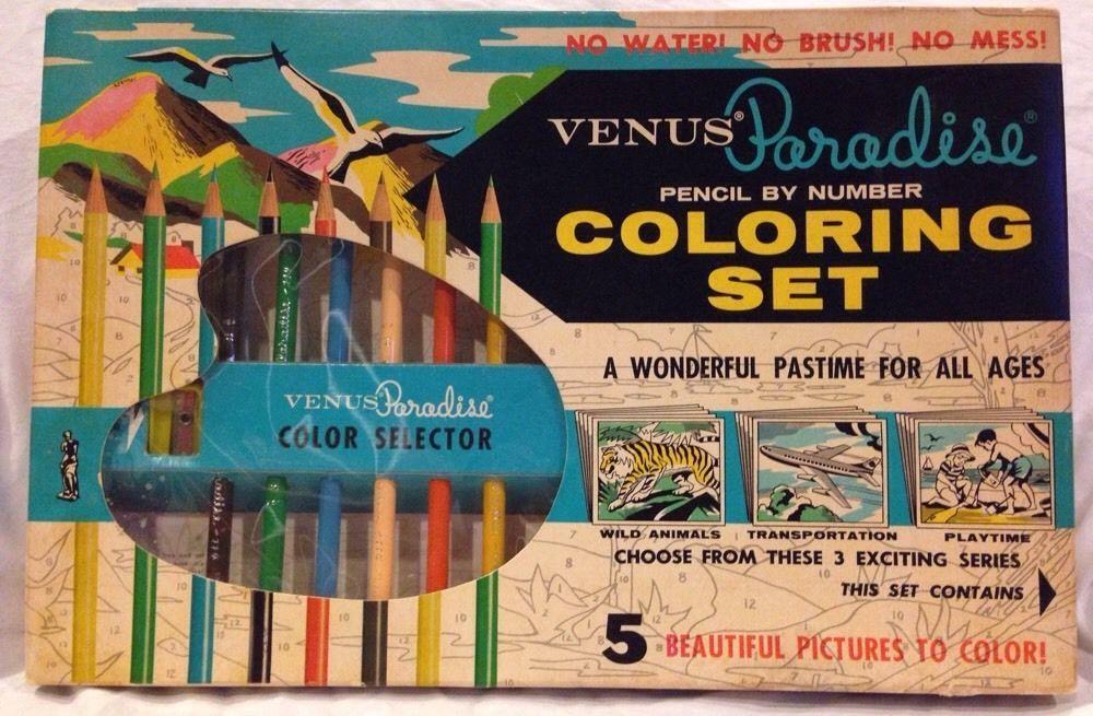 Vintage VENUS PARADISE Pencil by Number COLORING SET ...