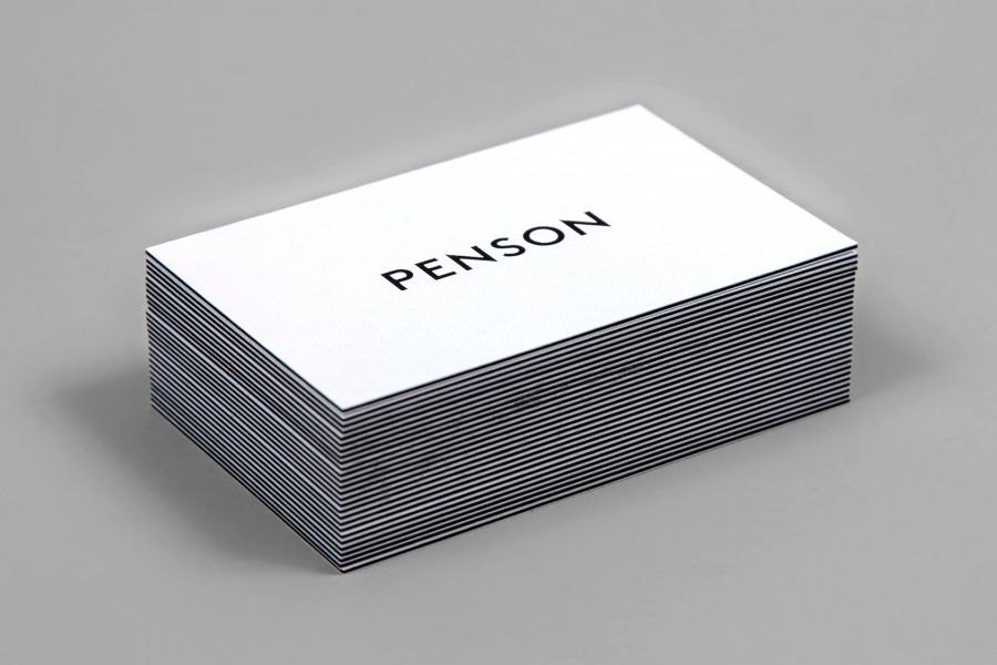 Logotype and triplex business card with Buckram surface emboss for interior design firm Penson Group created by She Was Only