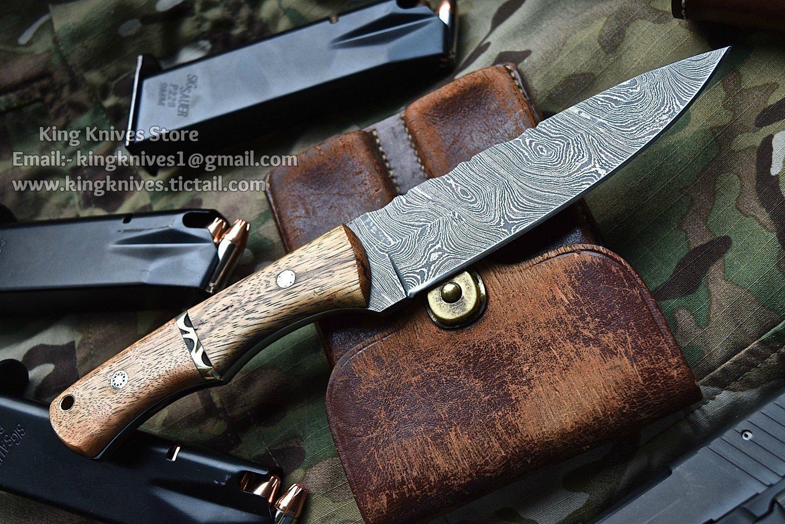 CUSTOM HANDMADE TWISTED BLADE WOOD HANDLE HUNTING KNIFE ...