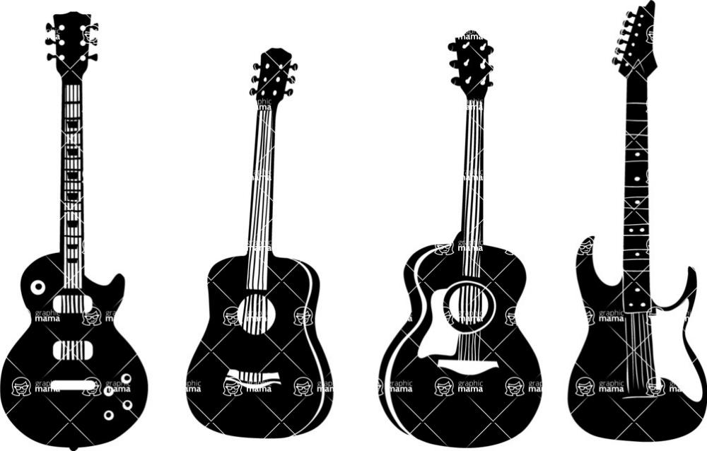 Graphicmama Vector Guitar Silhouettes Set Nature Vector Vector Silhouette
