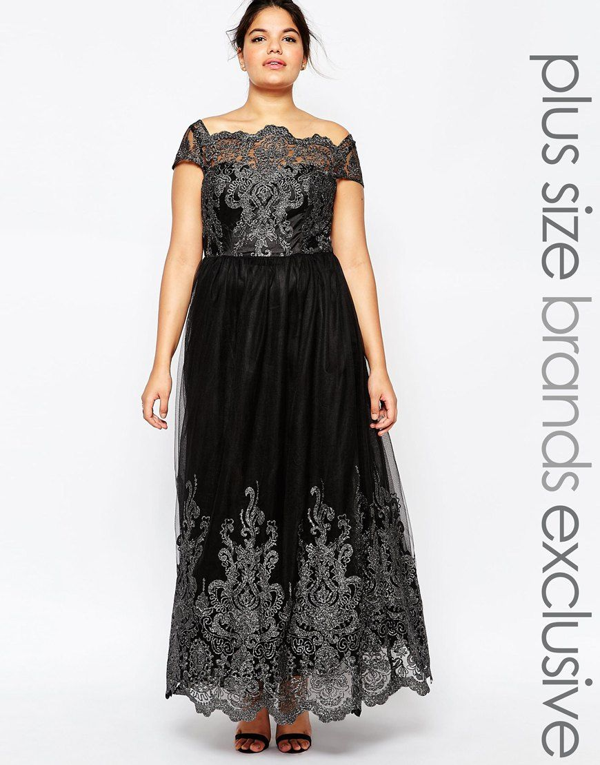 Chi chi london plus metallic lace cap sleeve maxi prom dress