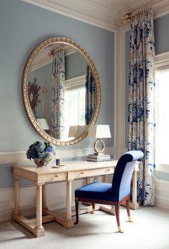 An Oversized Mirror Hangs Over The Writing Desk In Master Bedroom Tobifairley