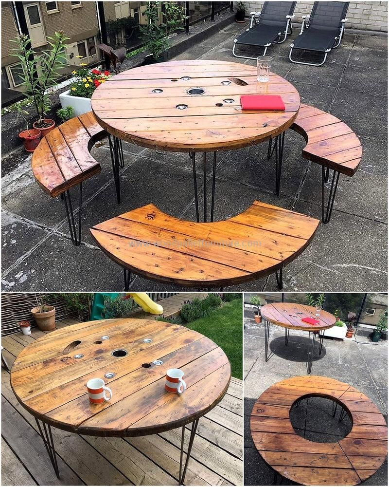 Reclaimed Pallets Cable Spool Patio Furniture Cable Spool Spool