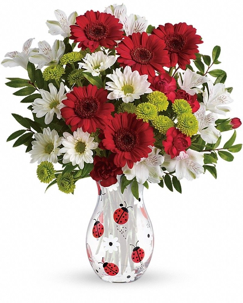 Lovely Ladybug Bouquet Flower delivery, Flower gift, Red