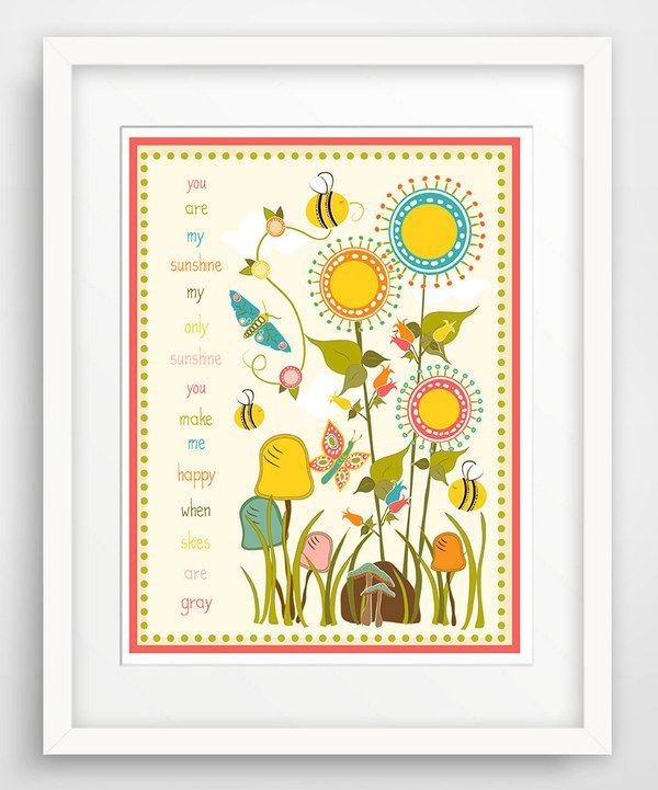 Look what I found on #zulily! 'You Are My Sunshine' Bees & Butterflies Giclée Print by Finny and Zook #zulilyfinds