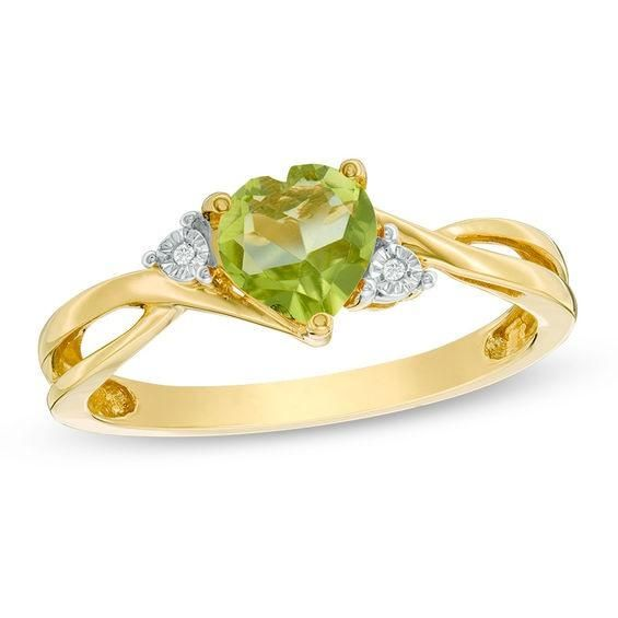 Zales 8.0mm Heart-Shaped Peridot Solitaire Ring in 10K Gold KVBN1
