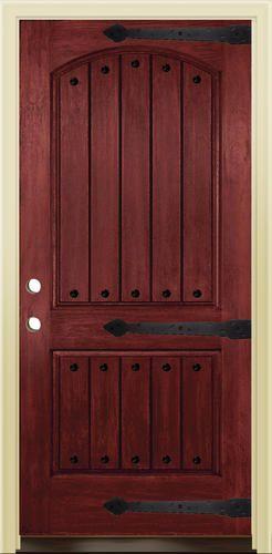 Mastercraft 36 Prefinished Wood Grain Fiberglass 2 Panel Arch Prehung Ext Door At Menards