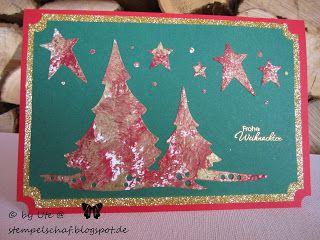 Weihnachtskarte mit Acrylfarbe