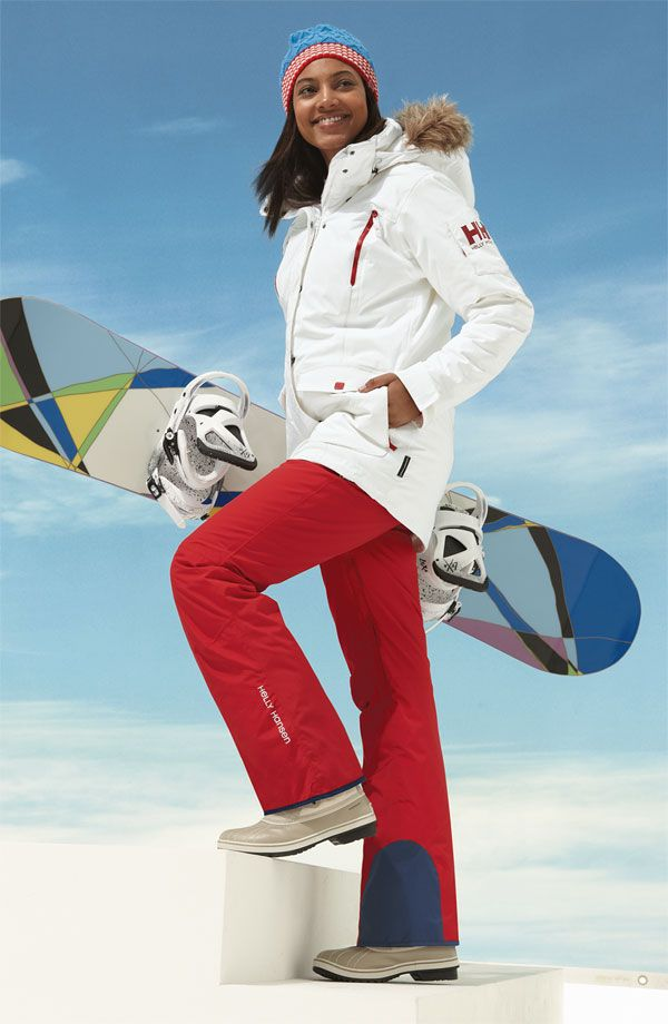 Super cute red ski pants. Love the white jacket too, but I ...