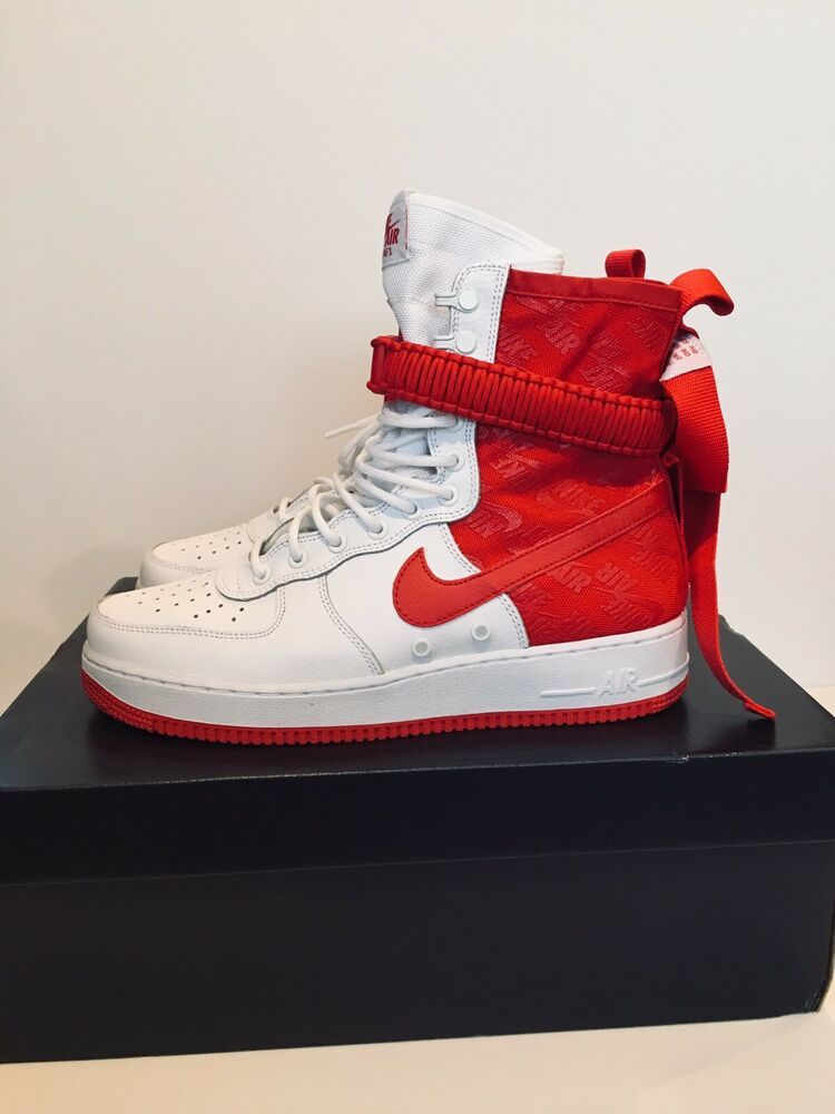 New Nike SF Air Force 1 Size 10.5 US High Boot White Red