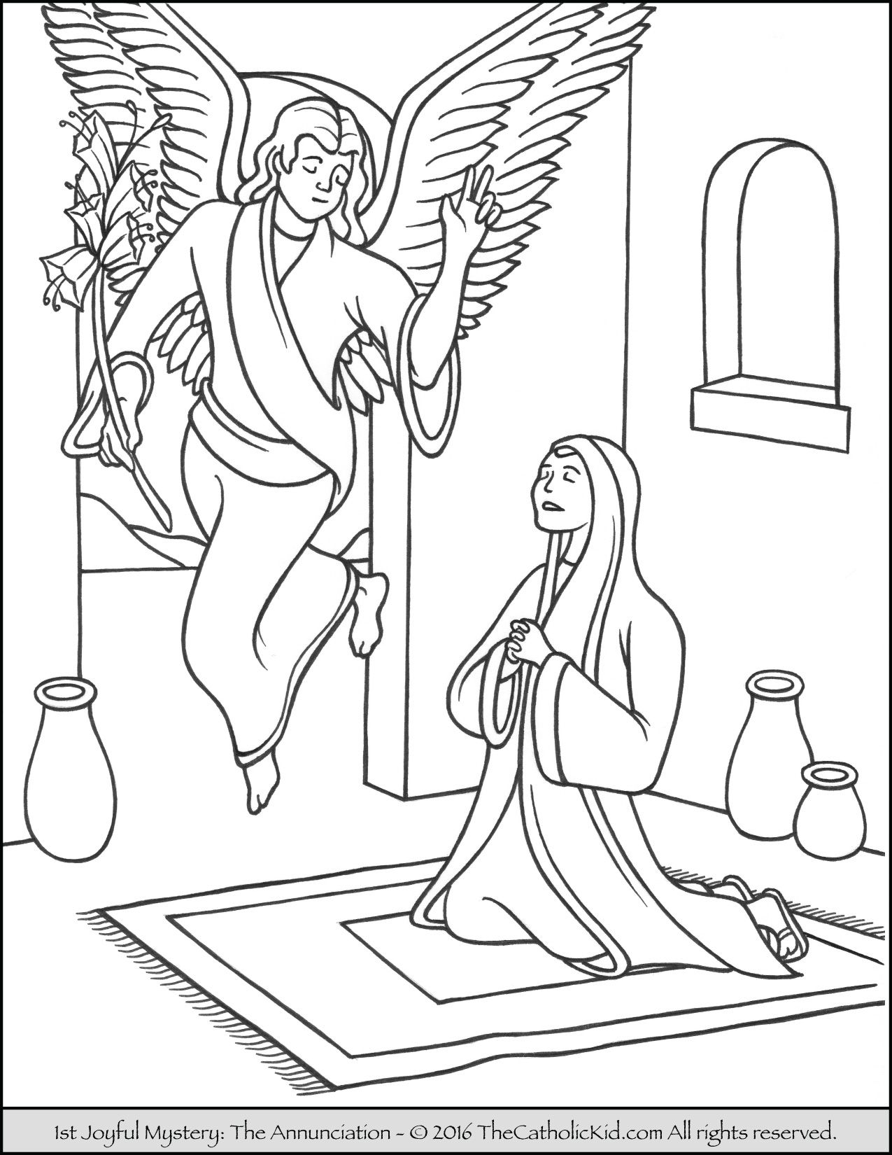 The 1st Joyful Mystery Coloring Page - Annunciation | Joyful ...