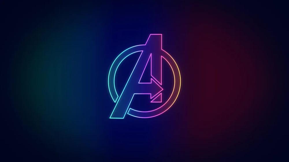Neon Avengers Logo [3840 x 2160] marvelstudios mcu in