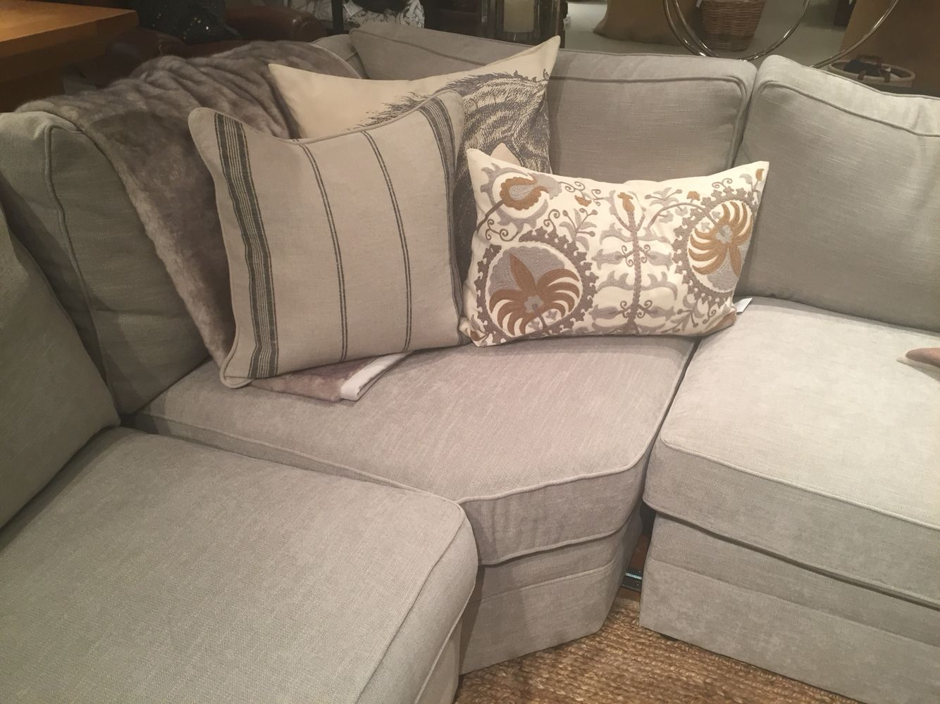 Pottery Barn Silver Taupe Performance Tweed   really like the look and feel  of this fabric. Pottery Barn Silver Taupe Performance Tweed   really like the look
