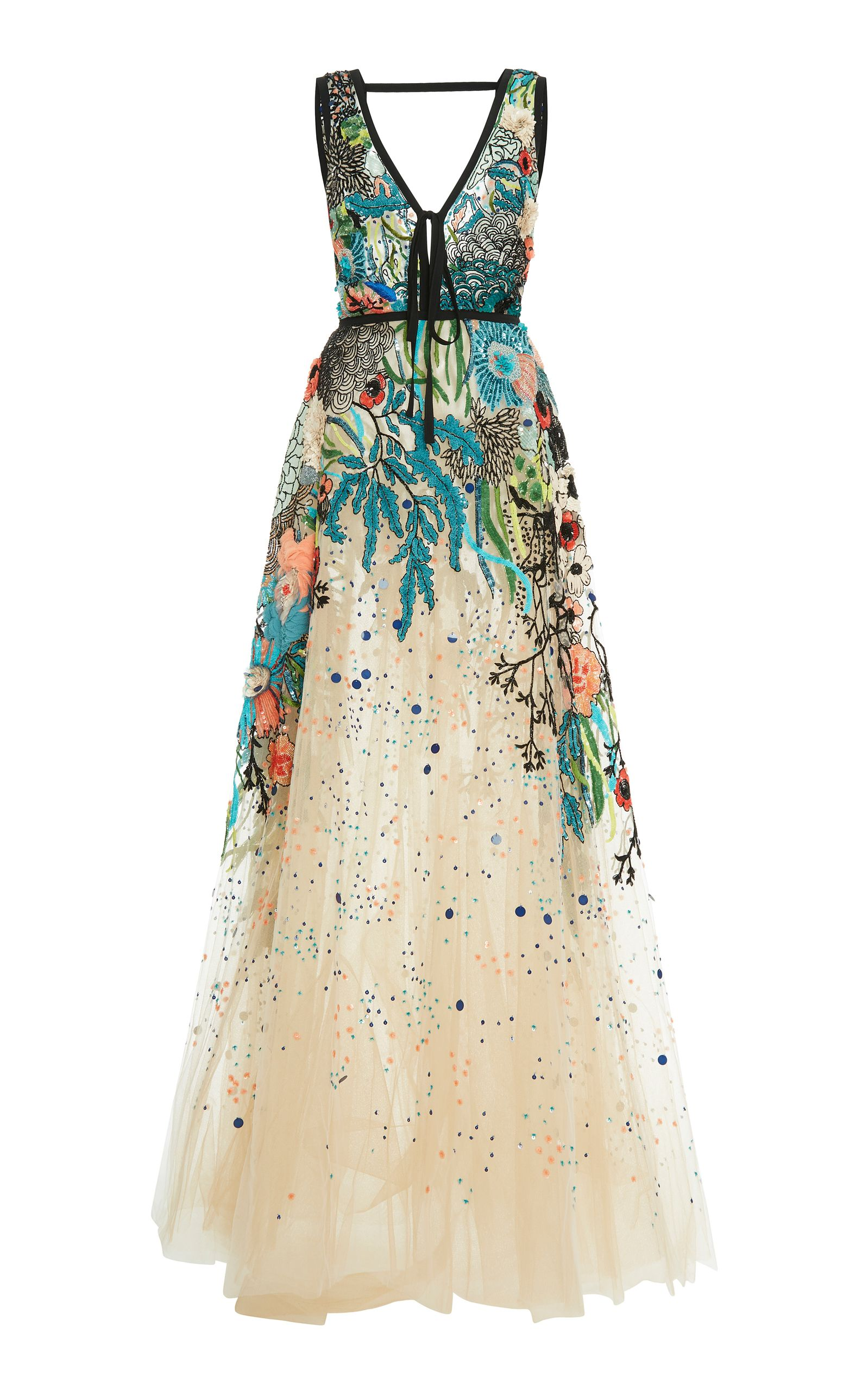 Bead Embroidered Tulle Gown by ELIE SAAB for Preorder on Moda ...