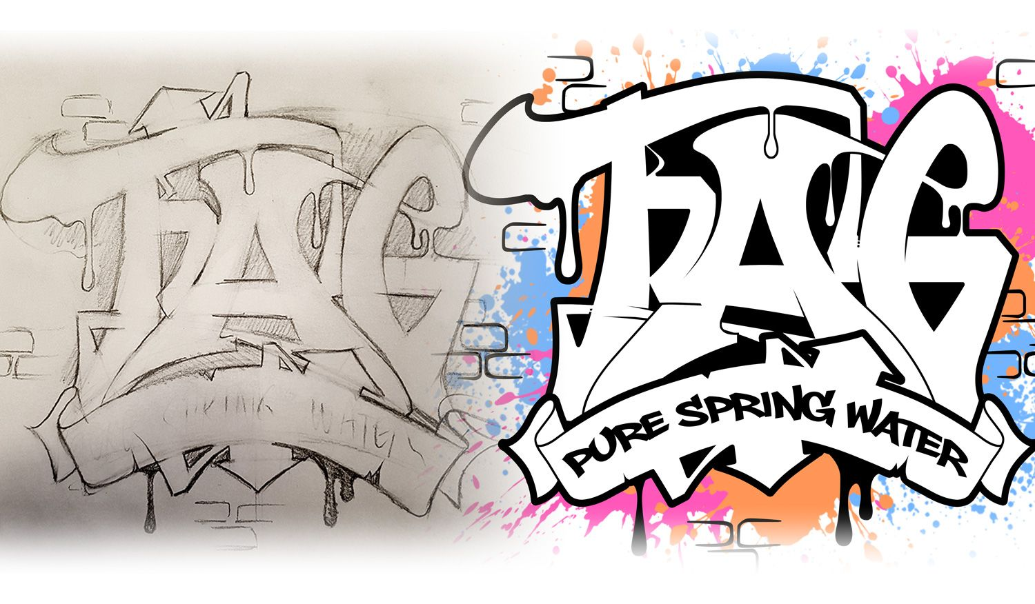 Custom Graffiti Illusration for a bottled water company  | fonts in