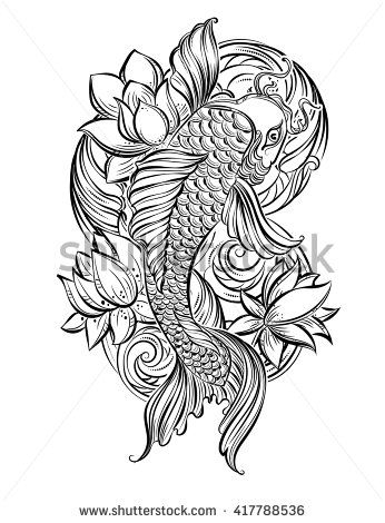 Hand drawn asian spiritual symbols koi carp with lotus and waves lotus flower tattoo designs hand drawn asian spiritual symbols koi carp with lotus and waves it can be used for tattoo and embossing or coloring mightylinksfo Choice Image