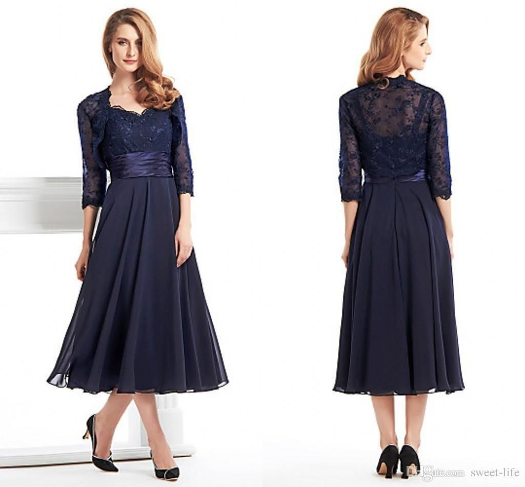 4859870cd33 Custom Made Tea Length Mother Of The Bride Groom Dresses With Jacket Long  Sleeves Navy Blue Lace Plus Size Women Evening Formal Gowns Online with ...