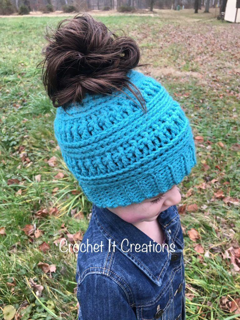 The Gracie Messy Bun Beanie Crochet Pattern #messybunhat