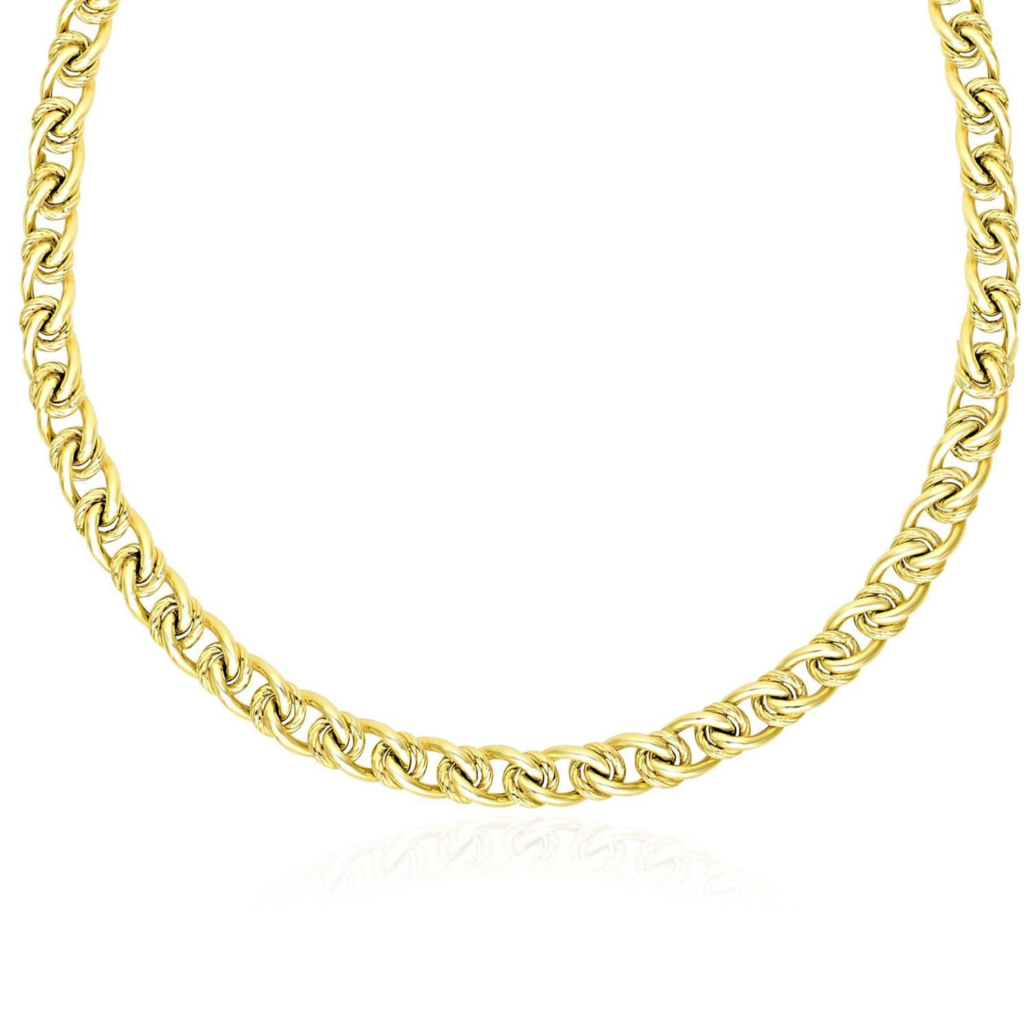 K yellow gold textured round and oval interlaced link bracelet