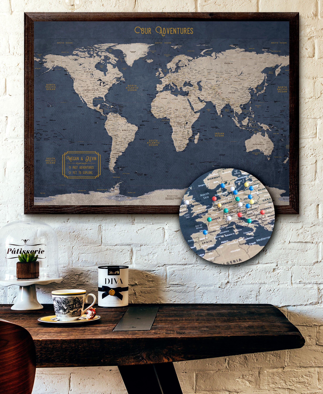 Large World Map Push Pin Executive Style 24x36\