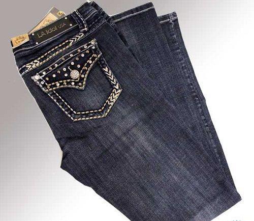 42e6e50cb04 LA IDOL Plus Size 19 Boot Cut Jeans Blue Studs   BLING P3356BT-F New!   LAIdol  BootCut