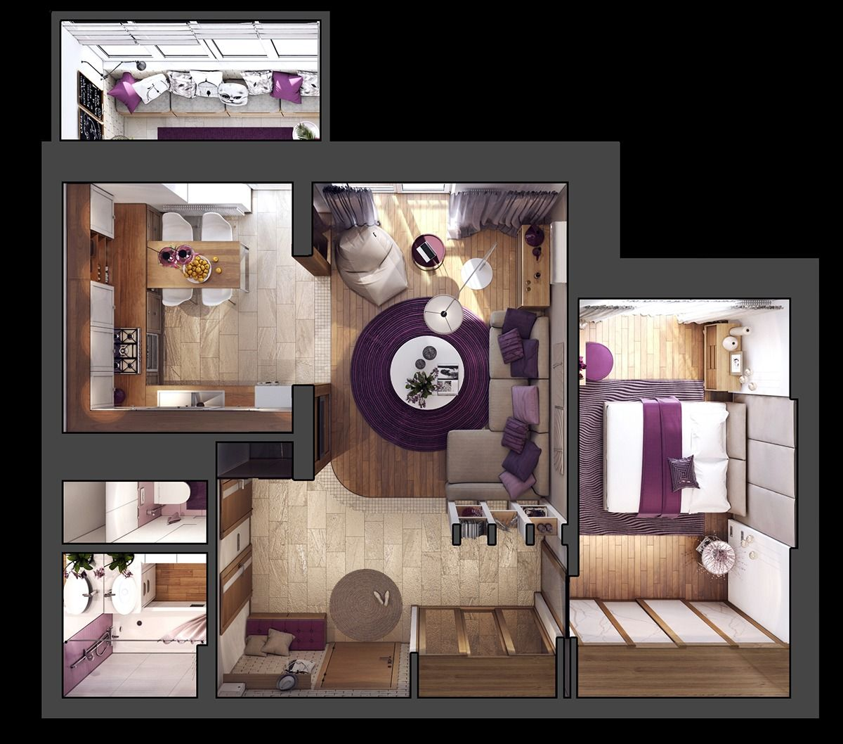 3 One Bedroom Apartments Under 750 Square Feet 70 Square Metres Includes Layouts Apartment Furniture Layout Small Room Design Home Room Design