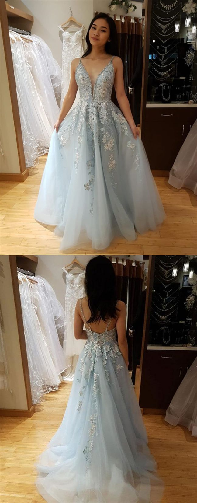 5598d1e8039ac princess light blue long prom dresses, spaghetti straps graduation party  dresses for teens, fashion prom gowns with appliques #dressestime #beading # gowns