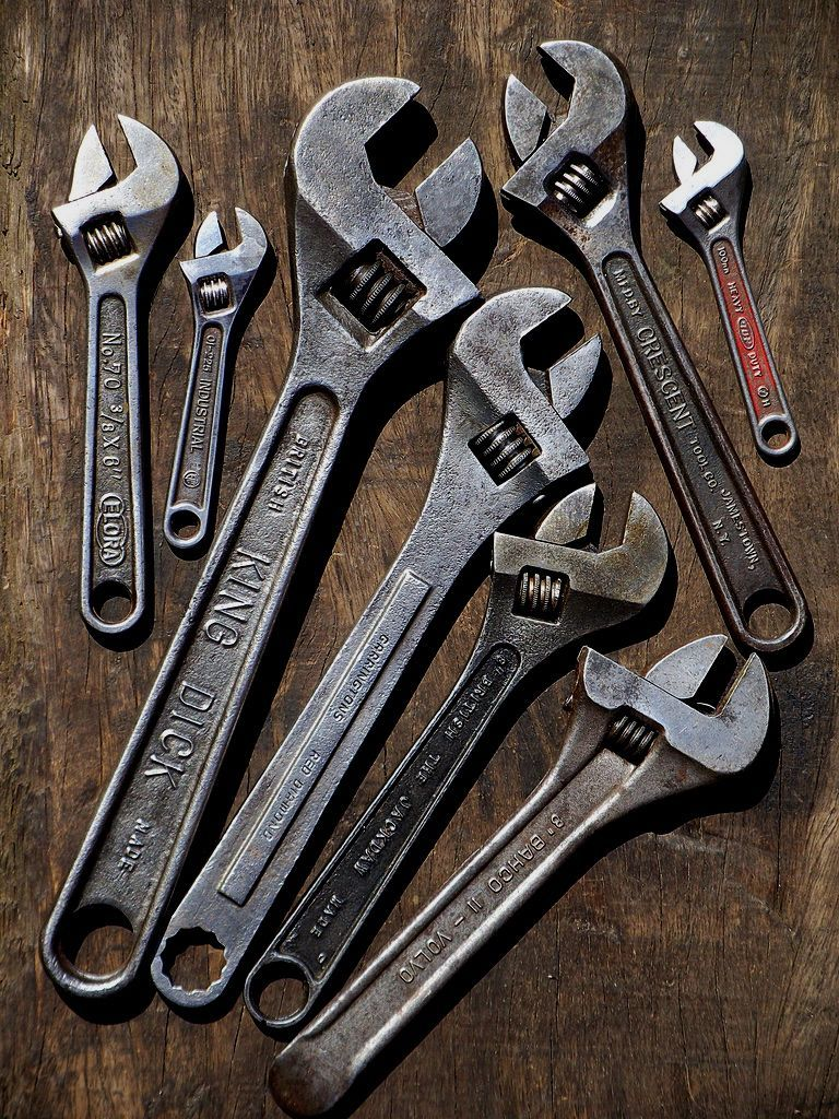 Vintage adjustable wrench Bronze wrench key Brass farmhouse decor Industrial decor