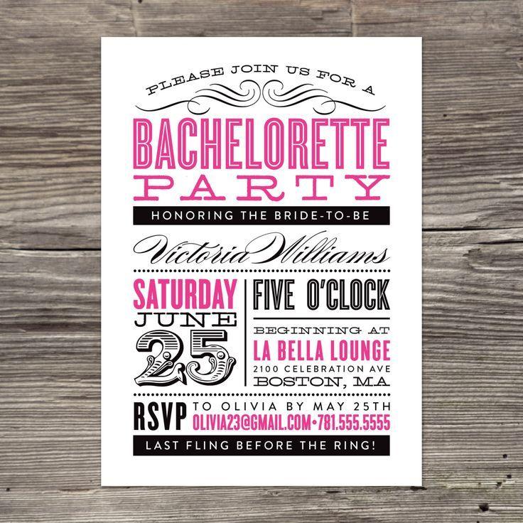 Classy Bachelorette Party Invitations | MP 15TH | Pinterest ...