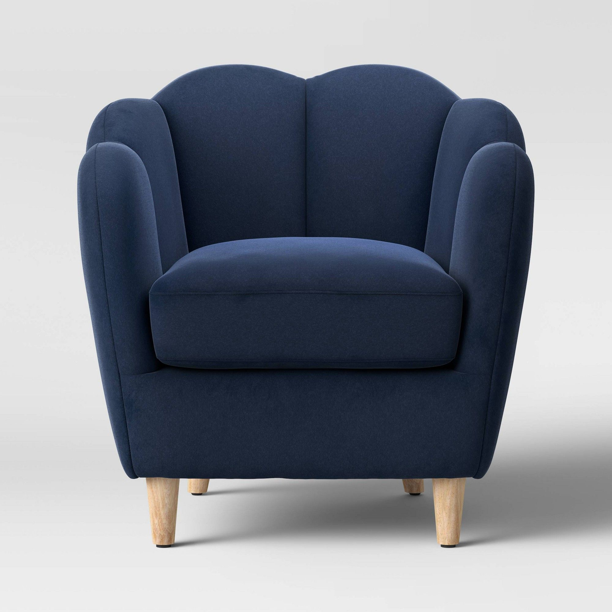 Best Waterville Upholstered Accent Chair Velvet Navy Blue 400 x 300