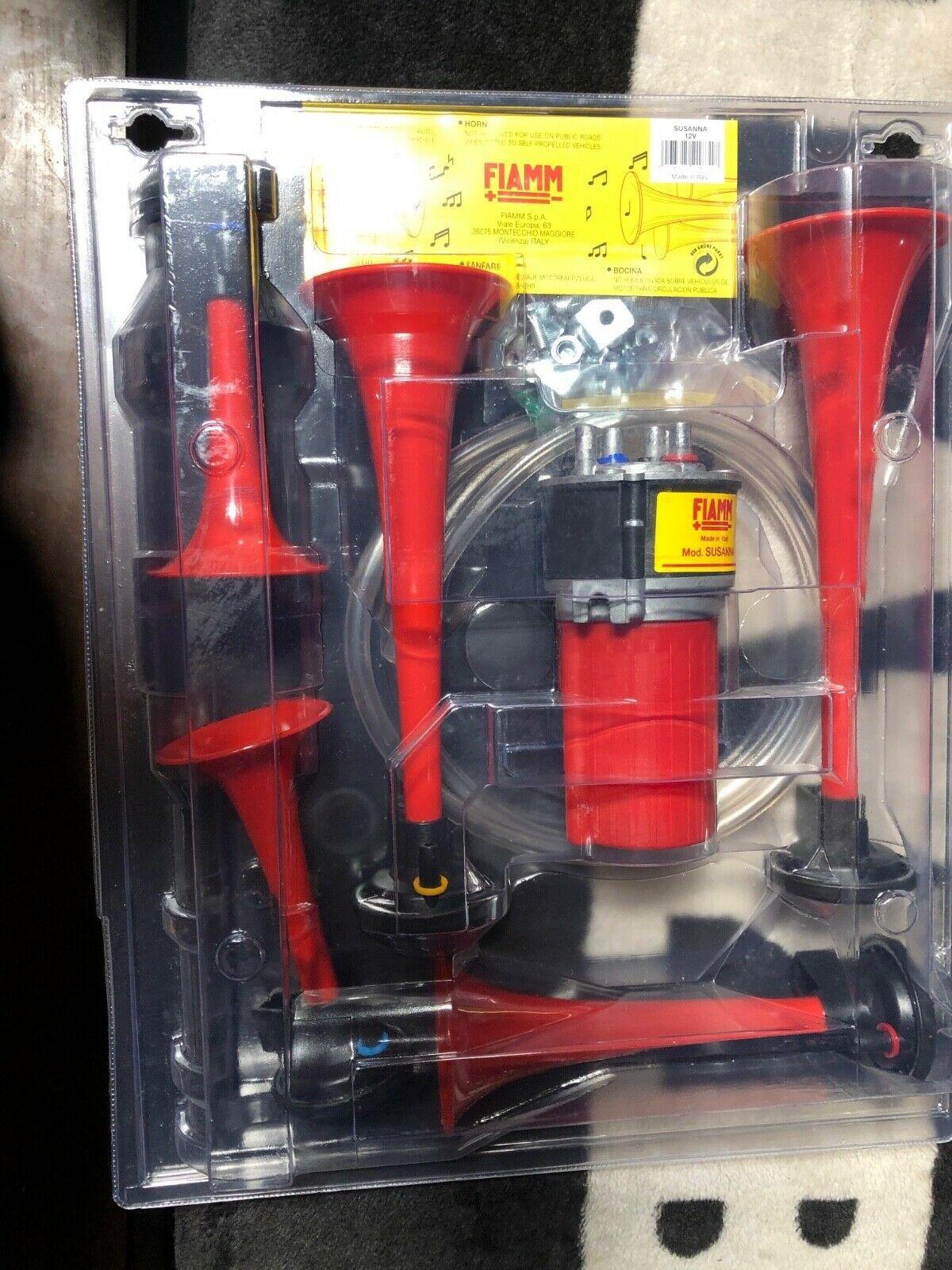 Italian Air Horns 5 Trumpet Fiamm Made Italy 12v Compressor Ferrari Mint New Ferrari Ferrari Car Compressor