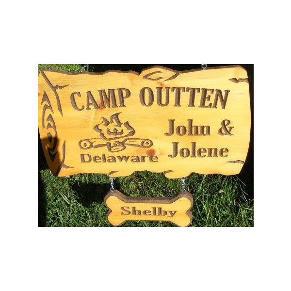 Personalized Camp Sign 22 x12 Northern White Cedar Carved Wood Sign ...
