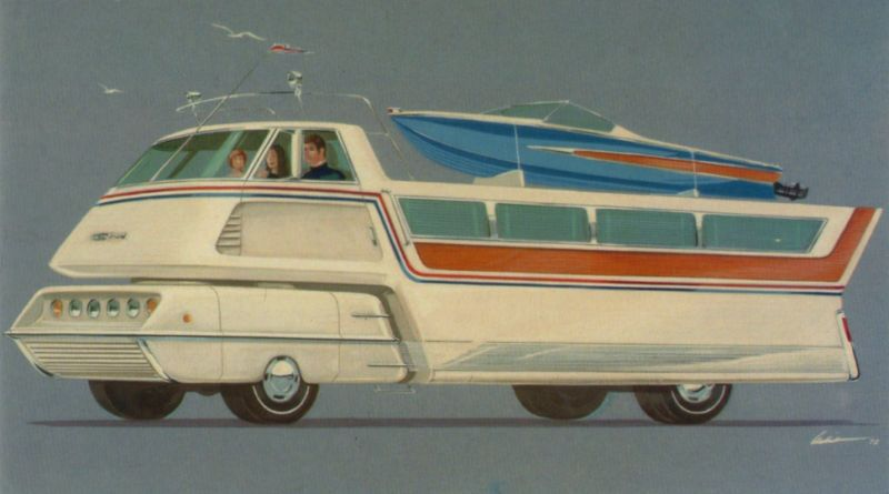 """Illustrated by Richard Arbib in 1972, this enormous """"leisure-mobile"""" of the future was called the GM Bonanza. It looks like it wouldn't have done very well during the 1970's oil crisis. Or at any time when fuel is more than $.03 per gallon, really."""