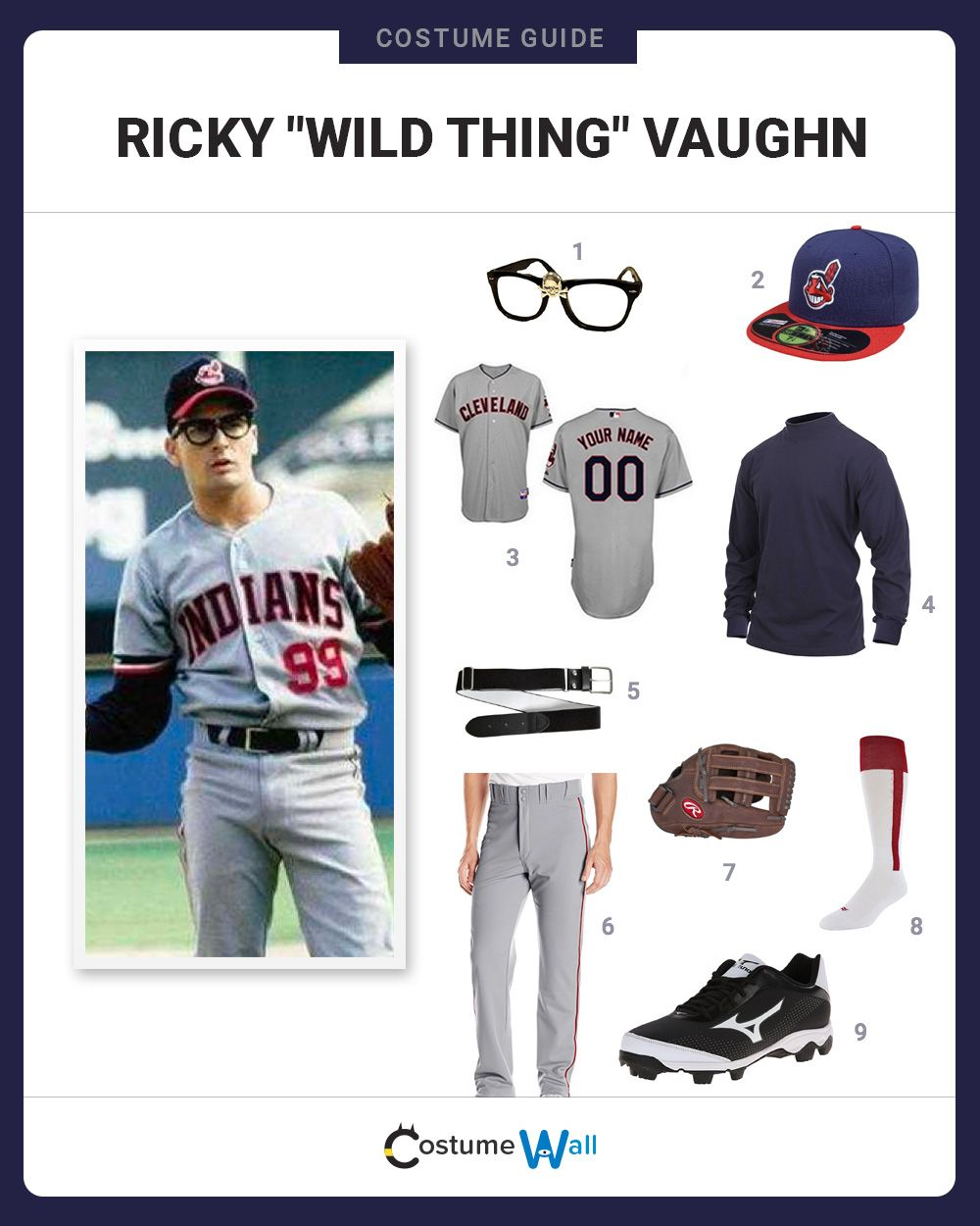 Dress Like Ricky Wild Thing Vaughn Baseball Costumes Cool Costumes Easy Costumes
