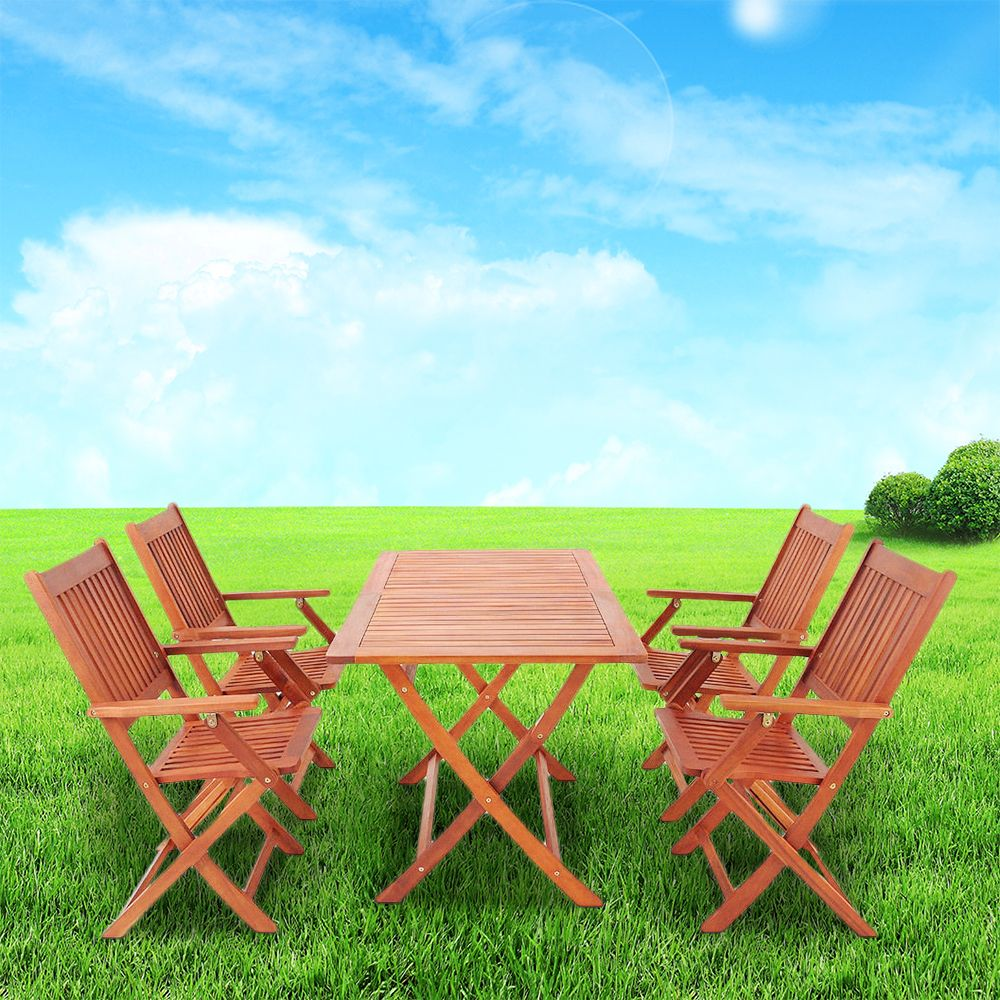 Set Tavolo Giardino Legno.Sydney Giardino Set 1 Tavolo 4 Sedia Da Giardino Eco Acacia Mobili