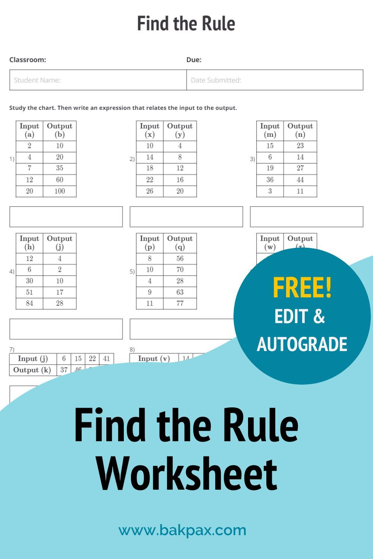 Free Find The Rule Elementary School Math Worksheet In 2020 Elementary School Math Free Math Worksheets Math Worksheet