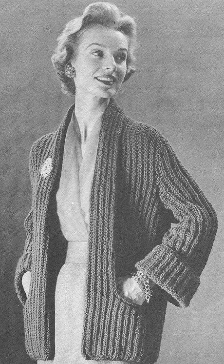 1955 Tuxedo Coat Vintage Knitting Pattern PDF 273