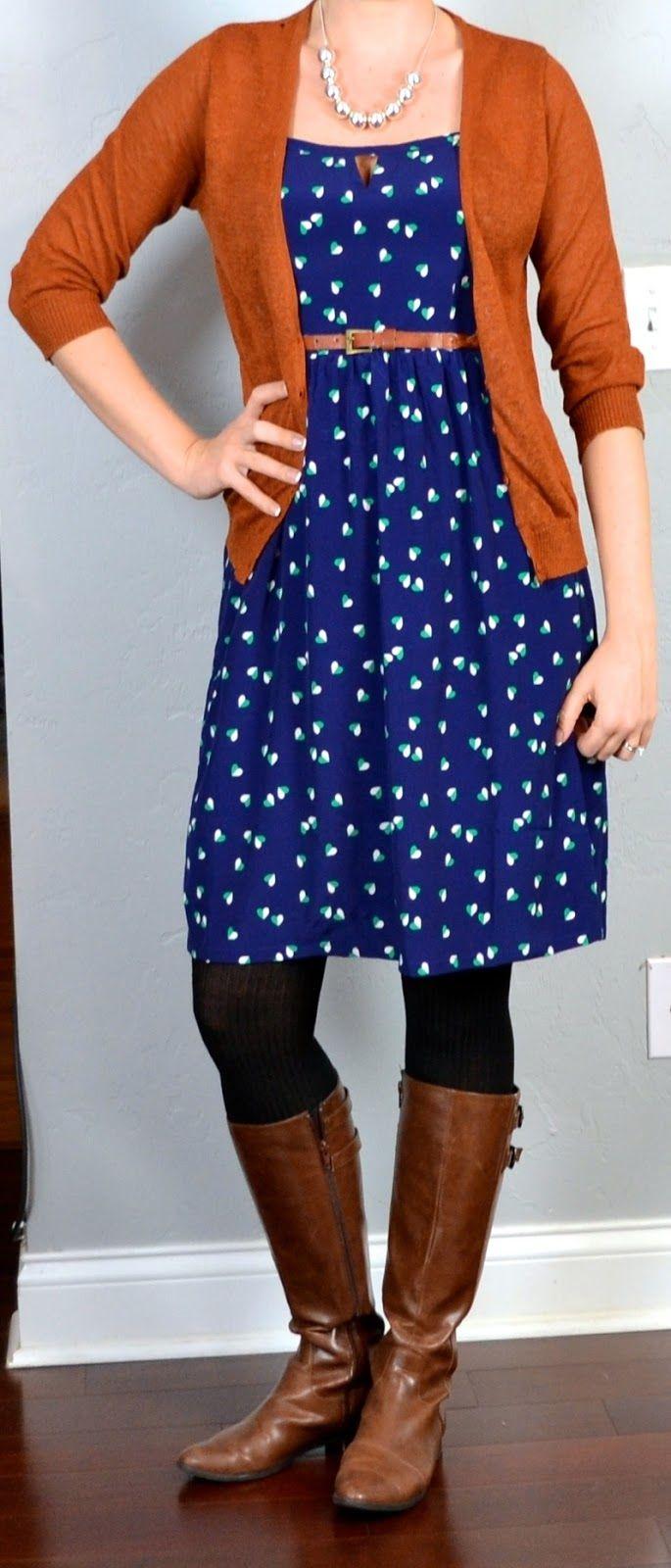 Blue dress and cardigan