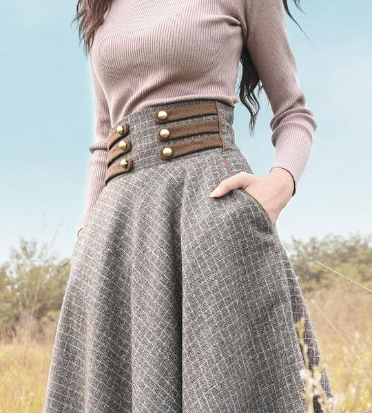 Boshow Long Woolen High Waist A-line Plaid Skirt
