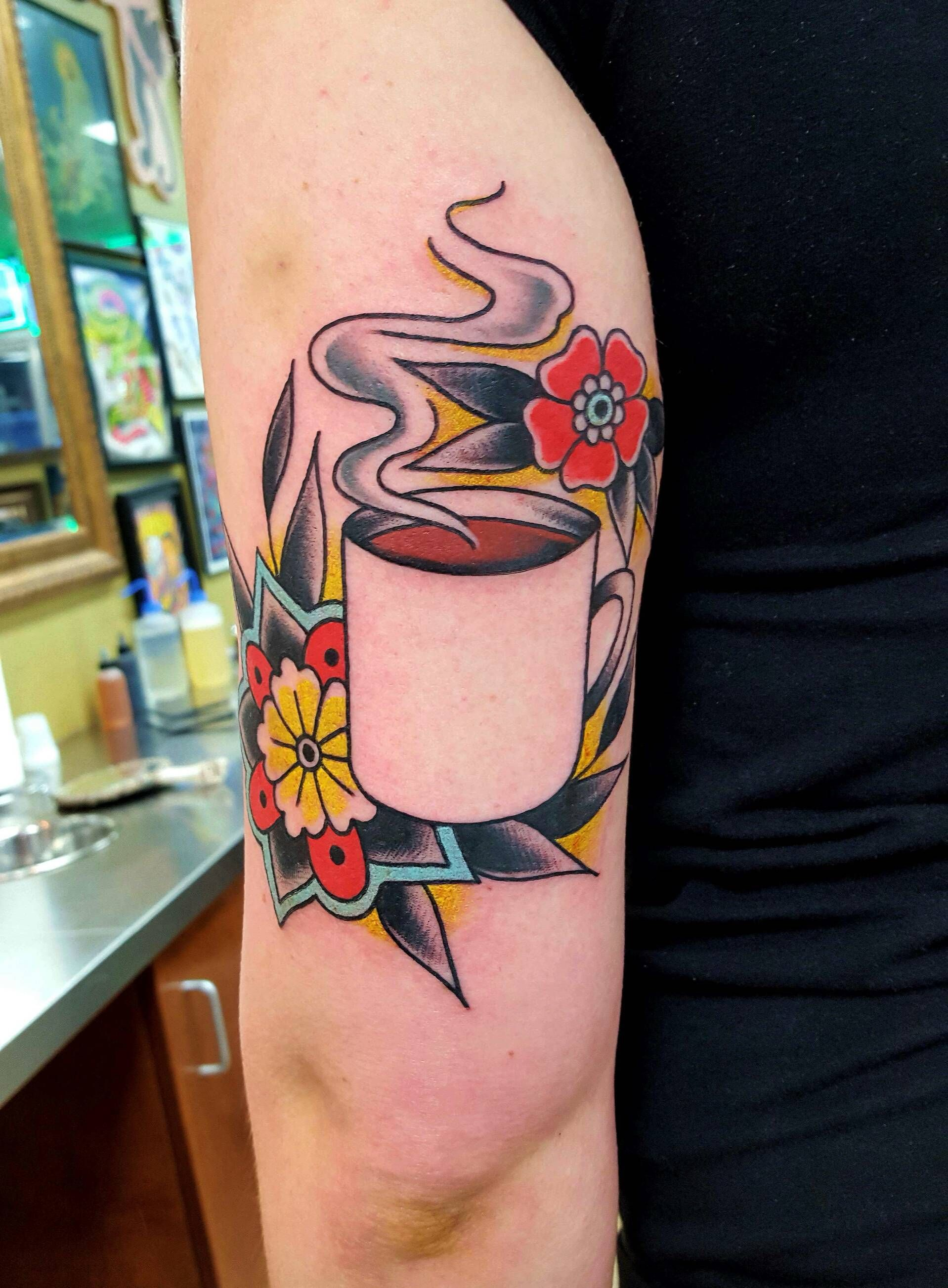Coffee and flowers by nancy miller at main street tattoo for Main street tattoo