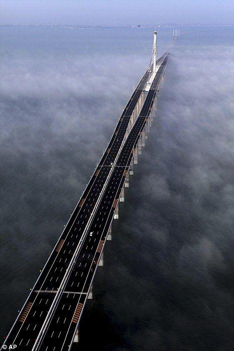 A sky high view of Jiaozhou Bay Bridge connecting Qingdao and Huangdao  China. (25