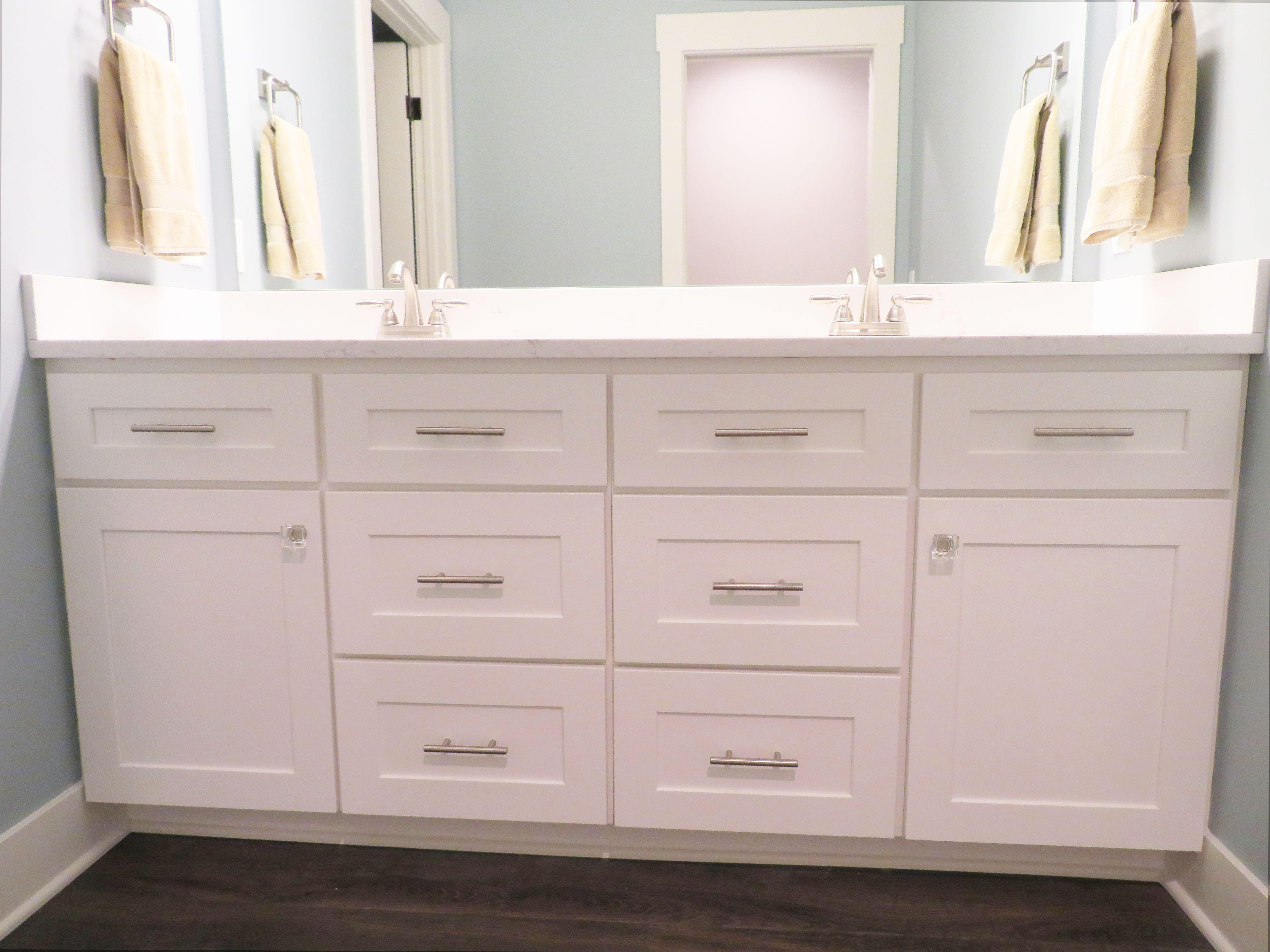 Cabinetry By River Run Desoto White Countertops By Vicostone In Misterio Bathroom Layout Kitchen And Bath Design Bathroom Design