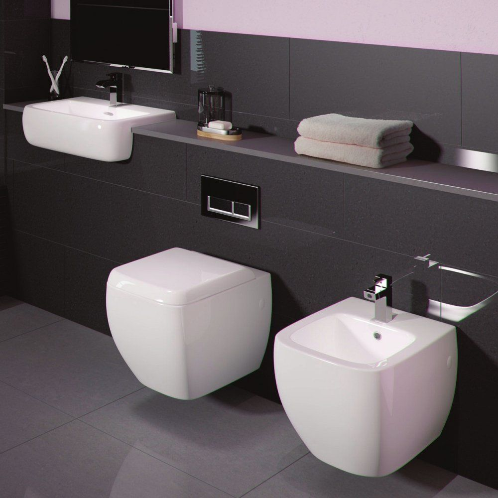 RAK Ceramics Metropolitan Square Wall Hung Toilet Basin Inc Bidet Bathroom Suite