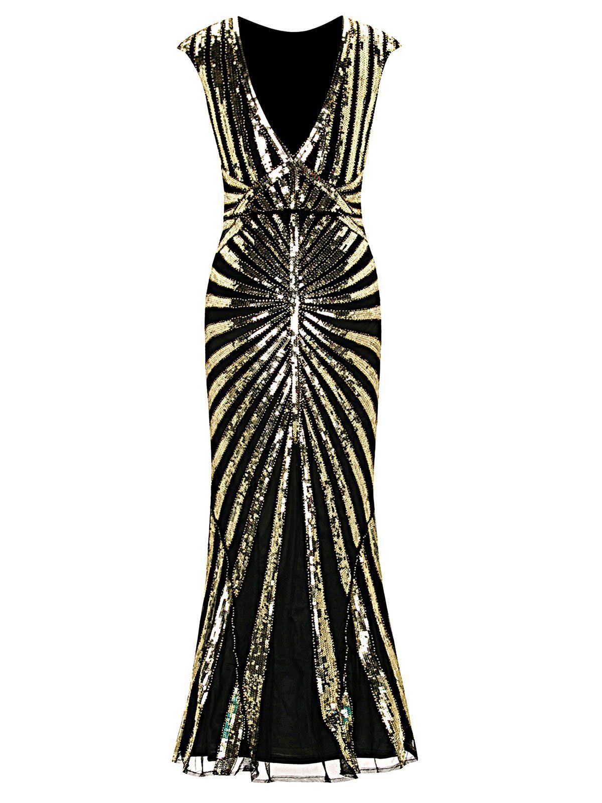 1920s Sequin Art Deco Maxi Dress Plus Size Flapper Dress Flapper Dress Pattern Dresses